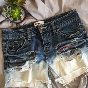 SO Bleach Dipped Super Distressed Jean Shorts 7